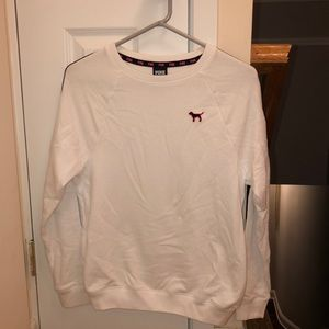 white crew neck shirt from victoria's secret pink.